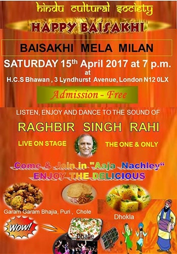 Hindu Cultural Society - Vaisakhi Celebrations North London poster (1)