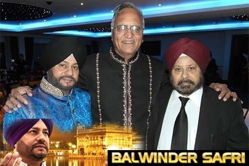 Singer Balwinder Safri, Rahi Bains and song writer Harbans Jandu Littrawala at an award ceremony, Cranford.